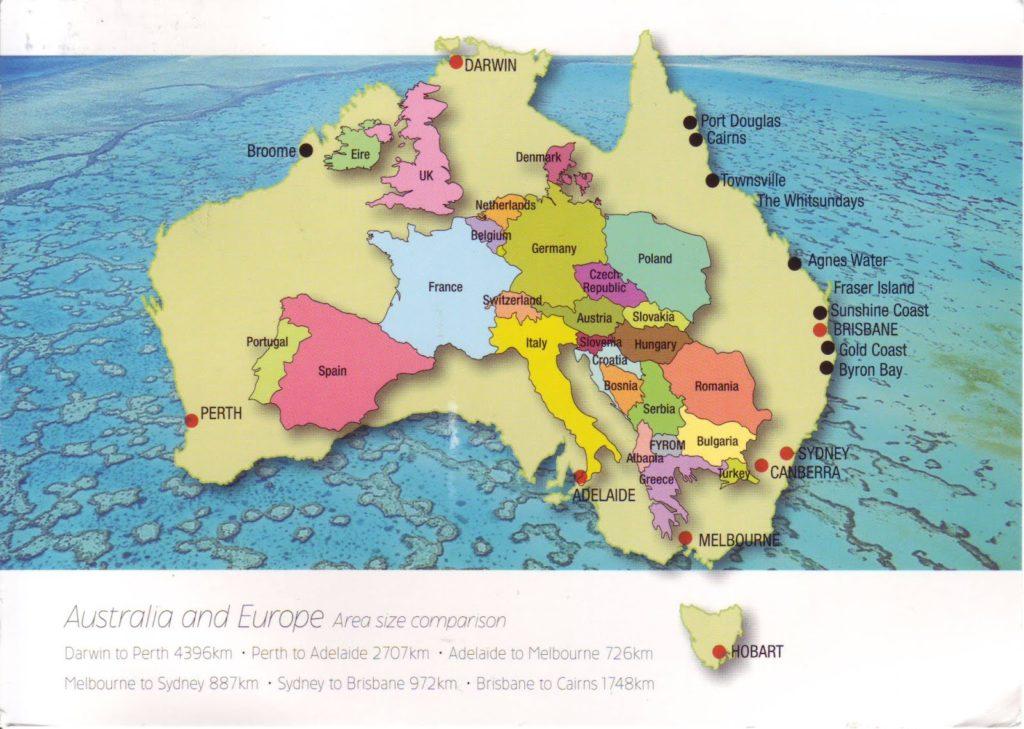 carte australie europe